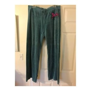 Juicy Couture Terry Sweatpants Teal Blue Green XL